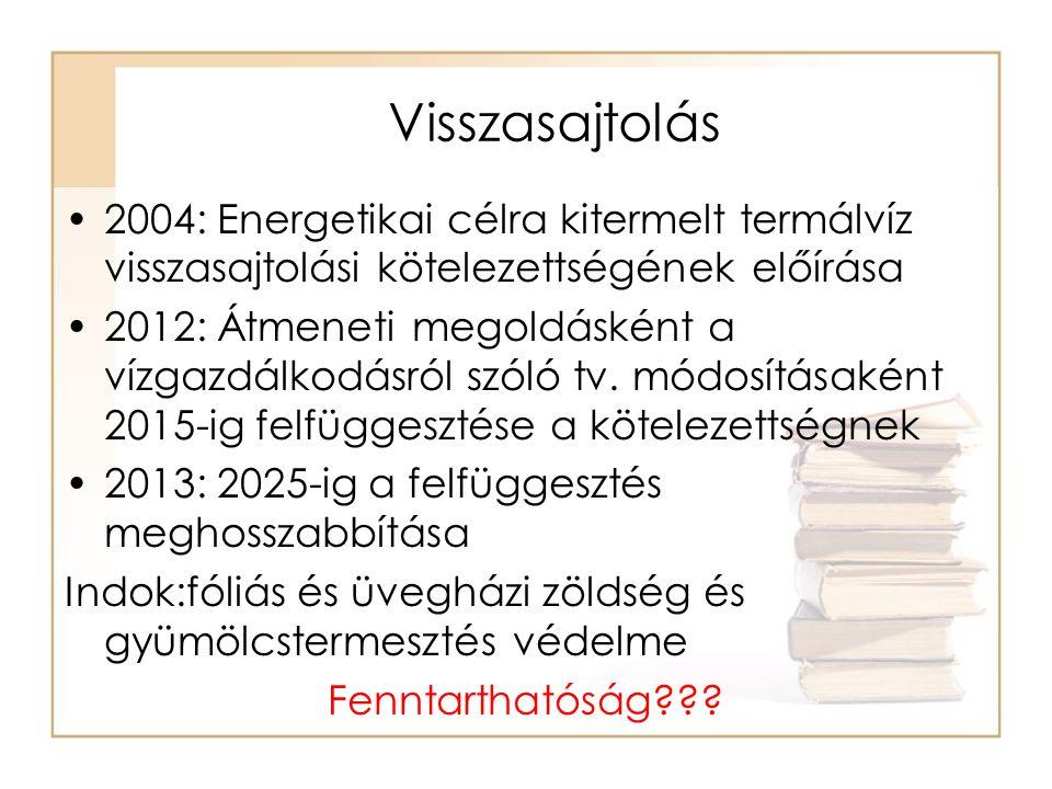 Visszasajtolás 2004: Energetikai célra kitermelt termálvíz visszasajtolási kötelezettségének előírása.