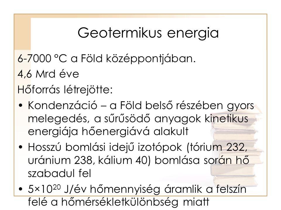Geotermikus energia 6-7000 °C a Föld középpontjában. 4,6 Mrd éve