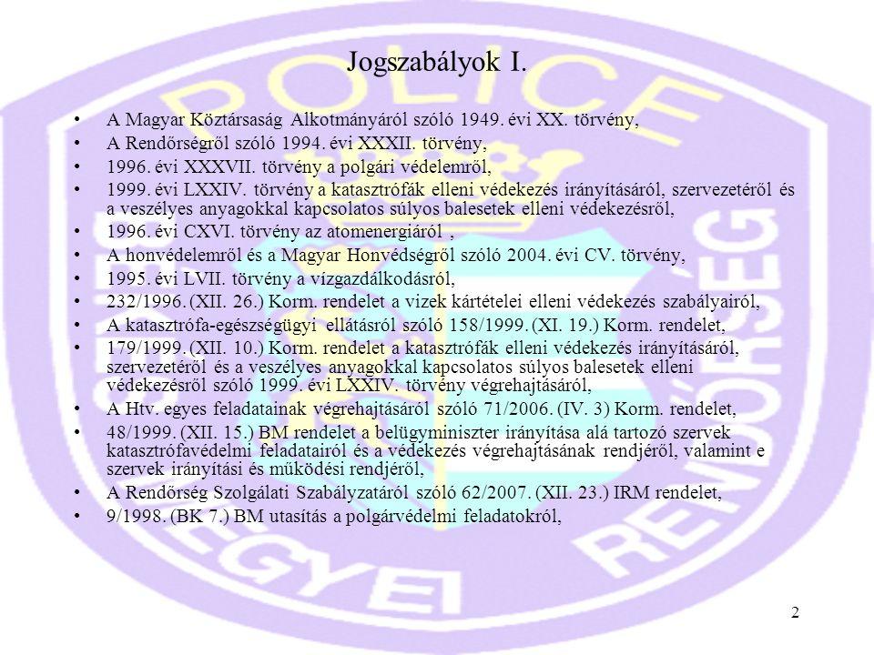 Jogszabályok I. A Magyar Köztársaság Alkotmányáról szóló 1949. évi XX. törvény, A Rendőrségről szóló 1994. évi XXXII. törvény,