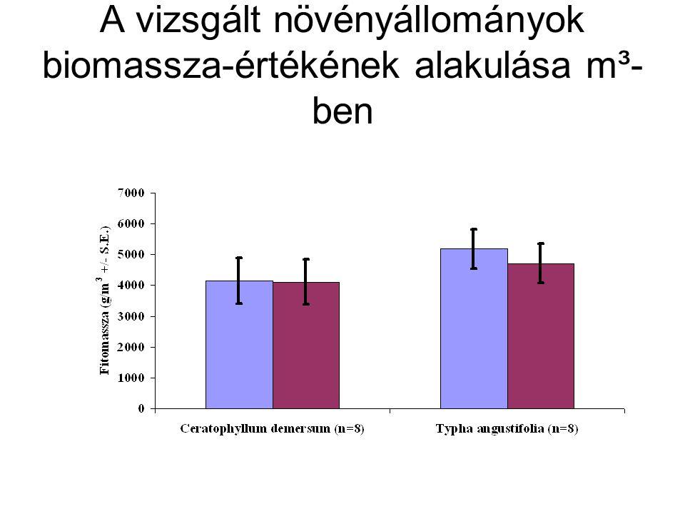 A vizsgált növényállományok biomassza-értékének alakulása m³-ben