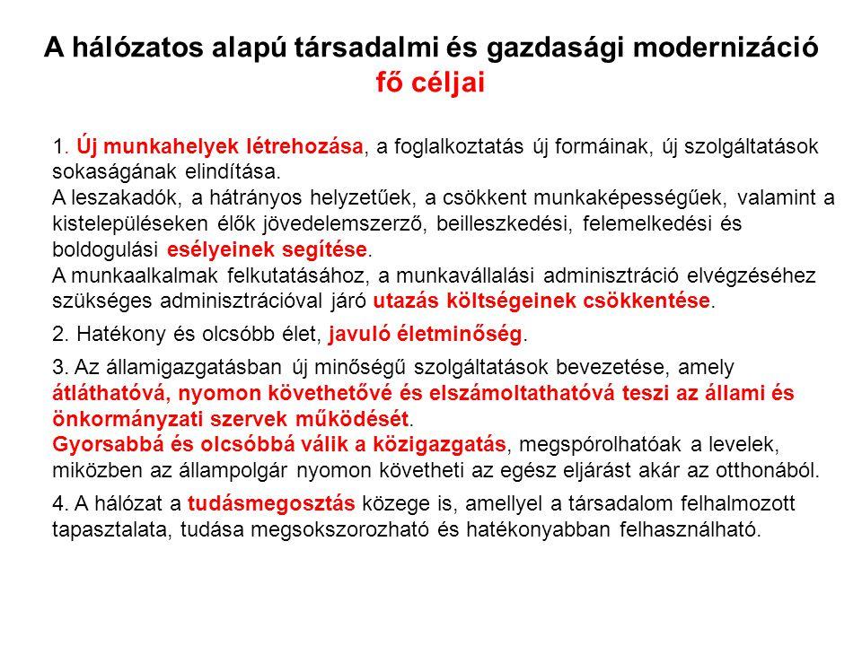 A hálózatos alapú társadalmi és gazdasági modernizáció fő céljai