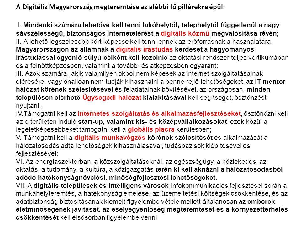 A Digitális Magyarország megteremtése az alábbi fő pillérekre épül: