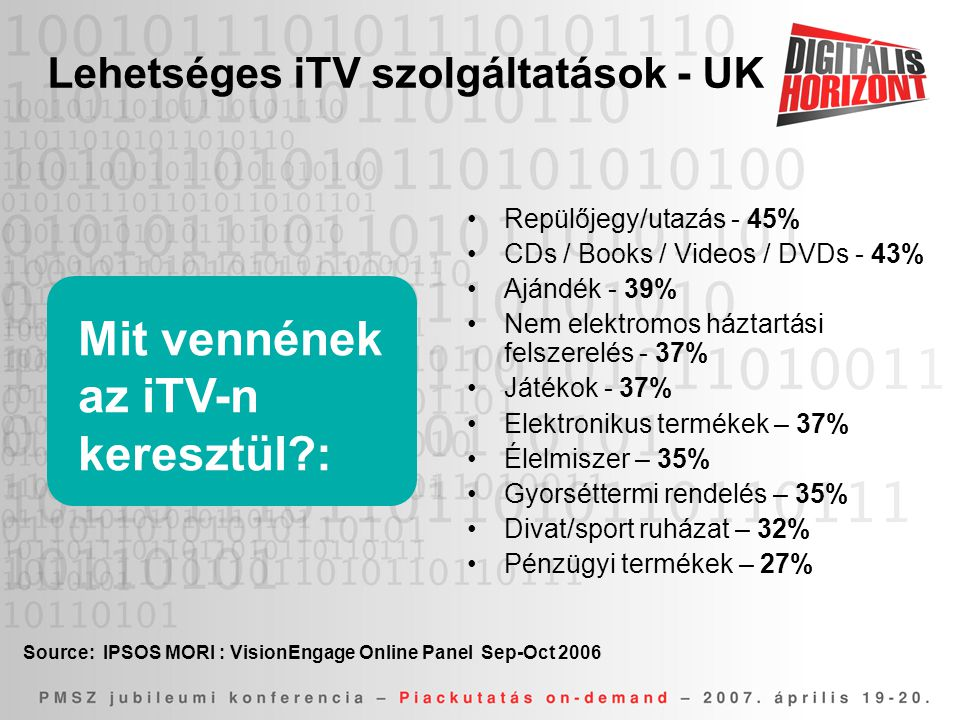 Lehetséges iTV szolgáltatások - UK