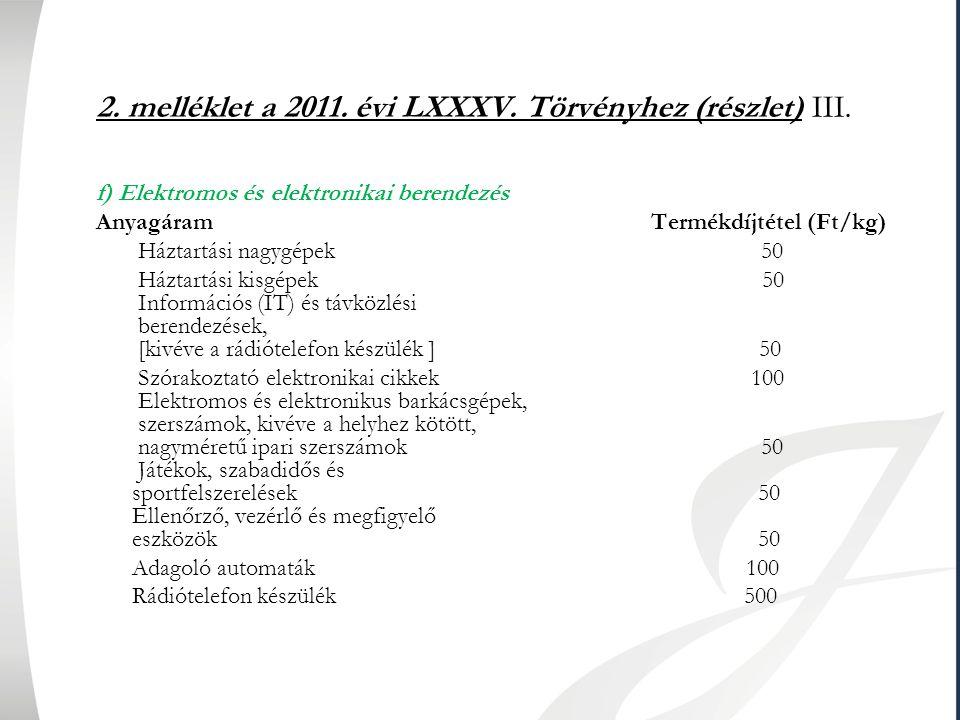 2. melléklet a 2011. évi LXXXV. Törvényhez (részlet) III.
