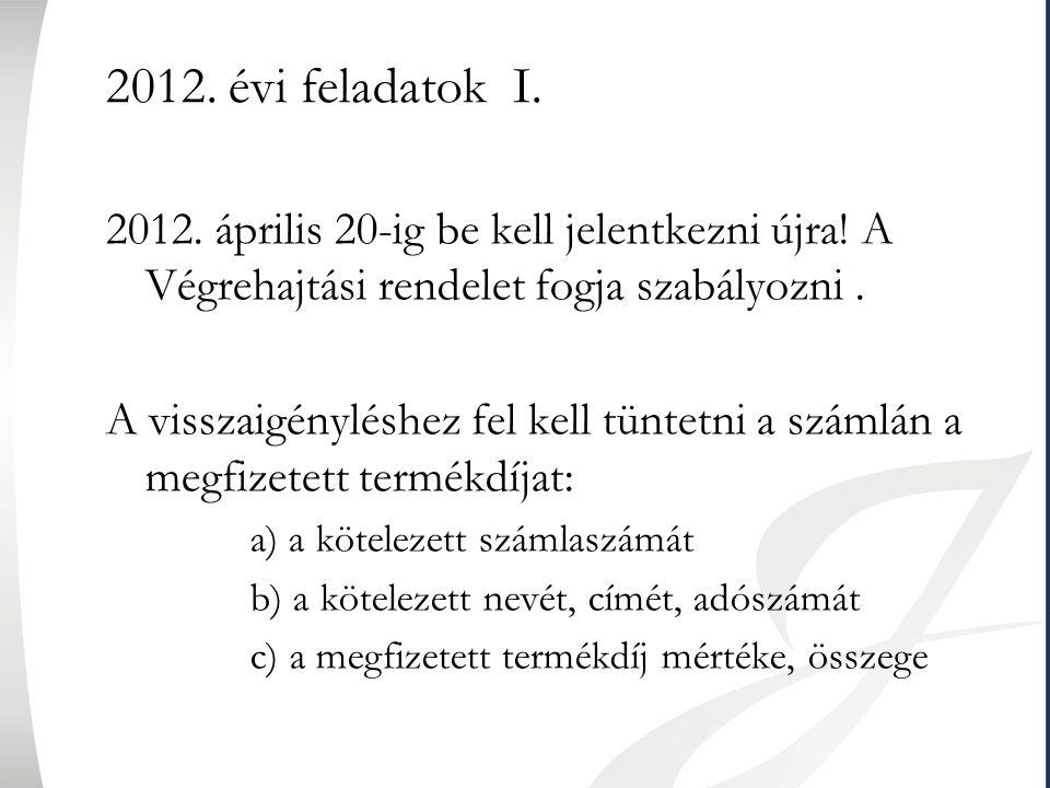 2012. évi feladatok I. 2012. április 20-ig be kell jelentkezni újra! A Végrehajtási rendelet fogja szabályozni .