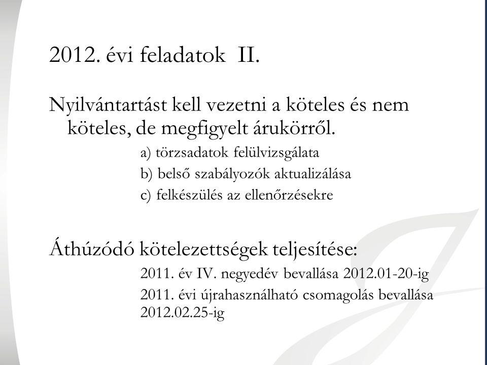 2012. évi feladatok II. Nyilvántartást kell vezetni a köteles és nem köteles, de megfigyelt árukörről.