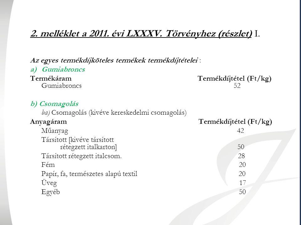 2. melléklet a 2011. évi LXXXV. Törvényhez (részlet) I.
