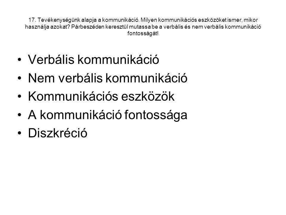 Verbális kommunikáció Nem verbális kommunikáció Kommunikációs eszközök