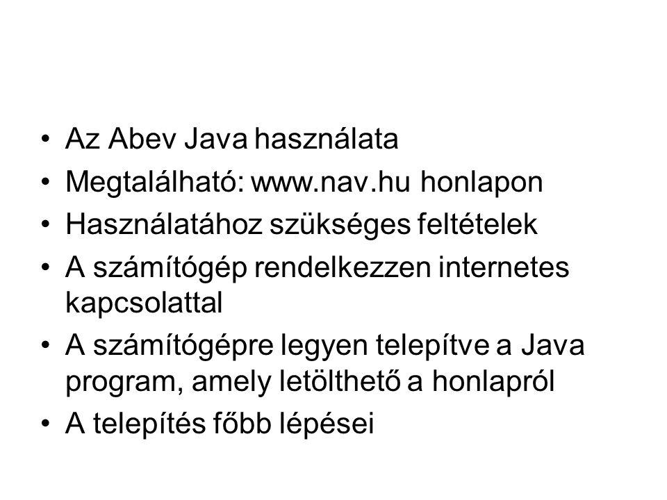 Az Abev Java használata