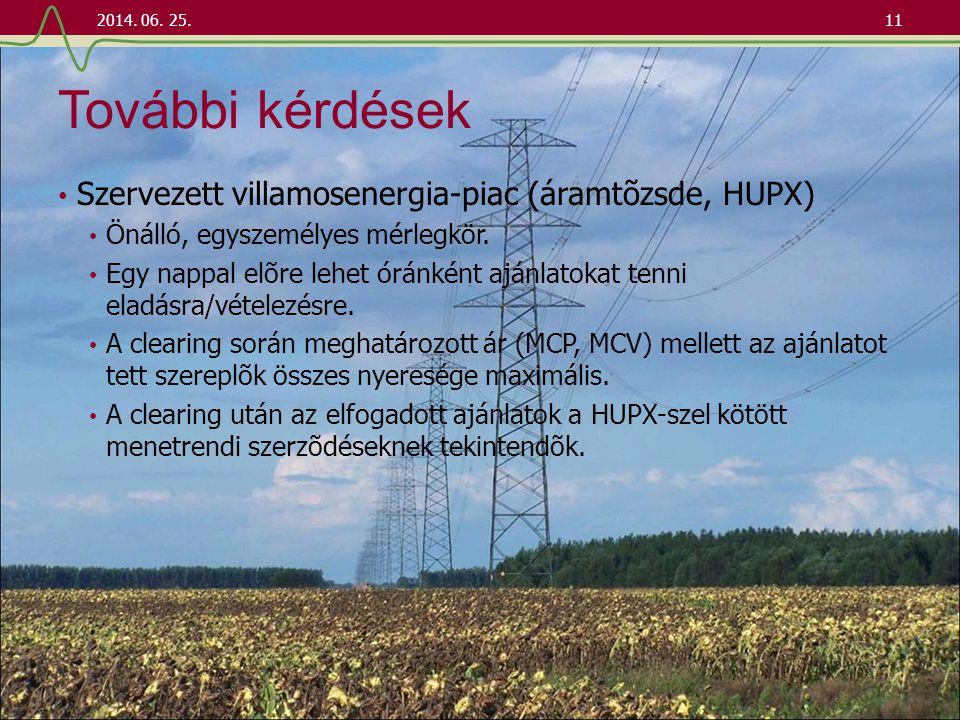 További kérdések Szervezett villamosenergia-piac (áramtõzsde, HUPX)