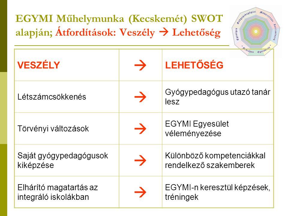 EGYMI Műhelymunka (Kecskemét) SWOT alapján; Átfordítások: Veszély  Lehetőség