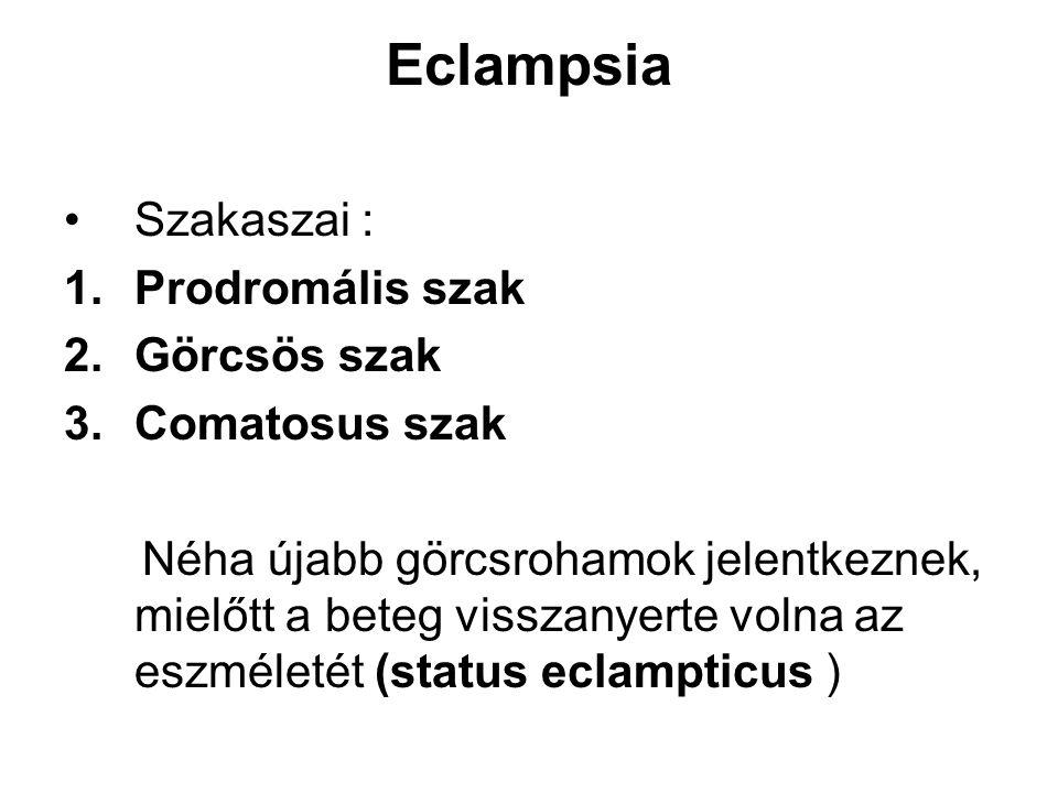 Eclampsia Szakaszai : Prodromális szak Görcsös szak Comatosus szak