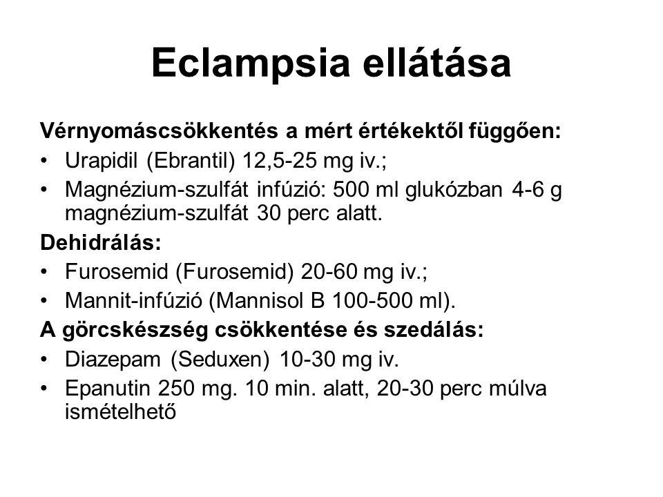 Eclampsia ellátása Vérnyomáscsökkentés a mért értékektől függően: