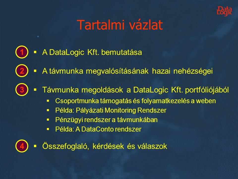 Tartalmi vázlat 1 A DataLogic Kft. bemutatása 2