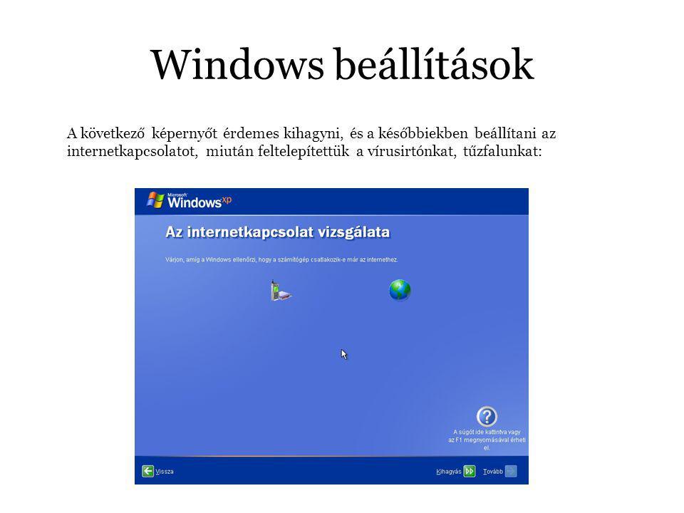 Windows beállítások