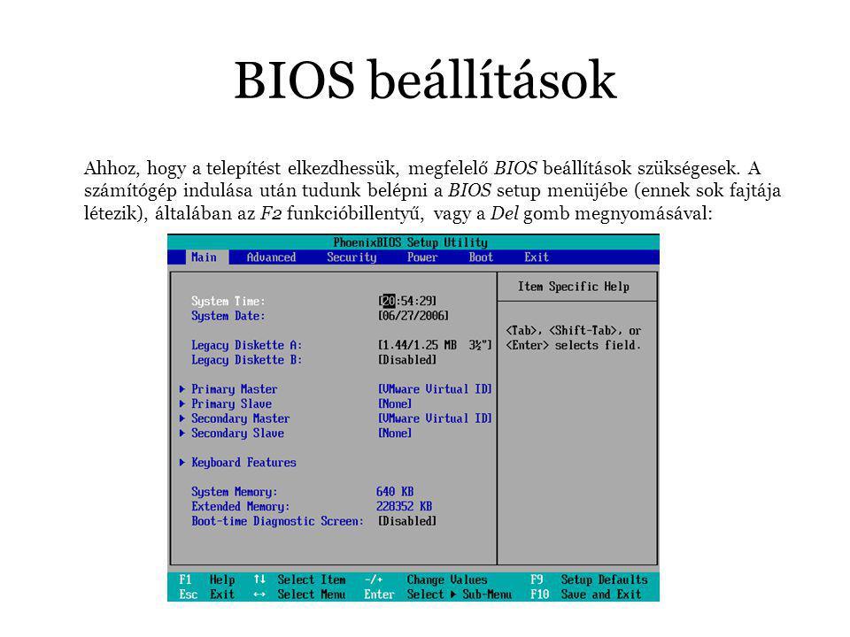 BIOS beállítások