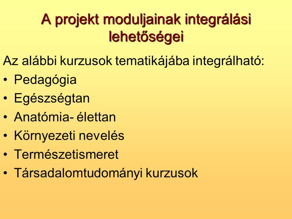 A projekt moduljainak integrálási lehetőségei