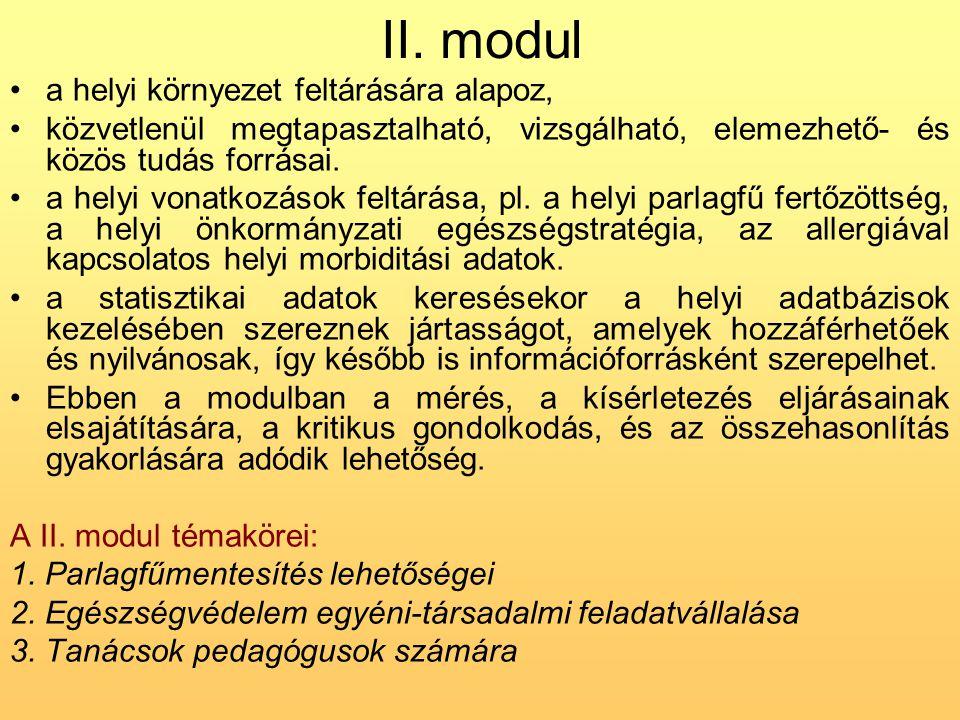 II. modul a helyi környezet feltárására alapoz,