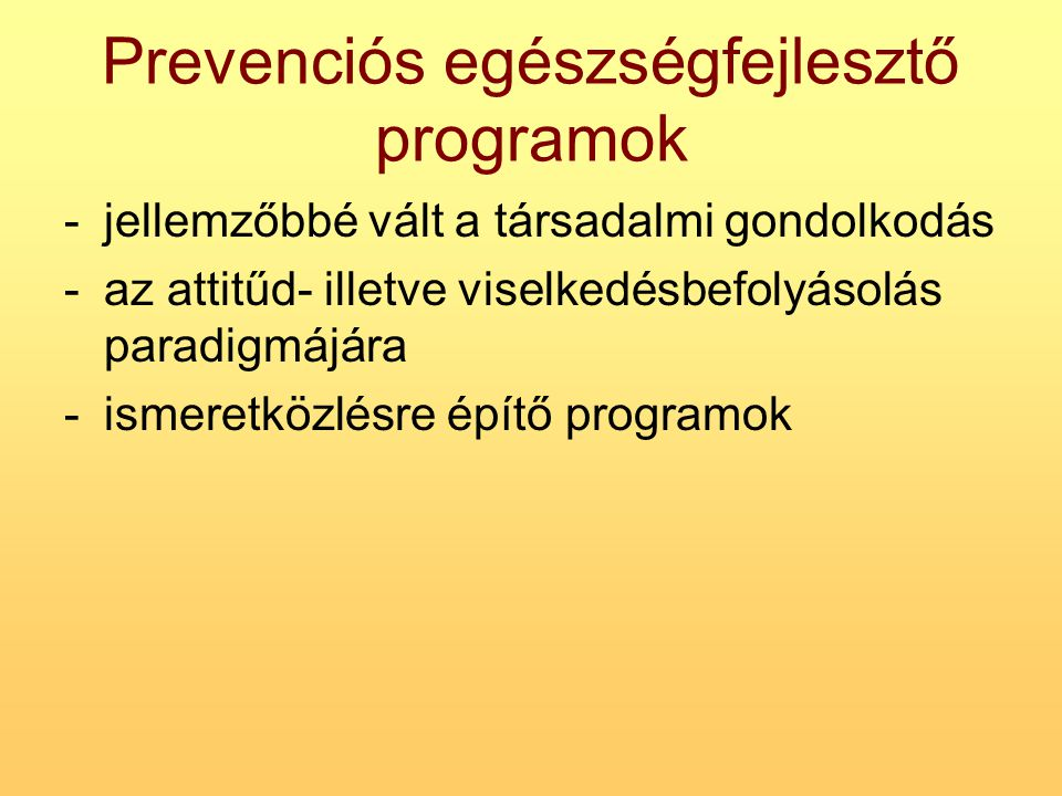 Prevenciós egészségfejlesztő programok
