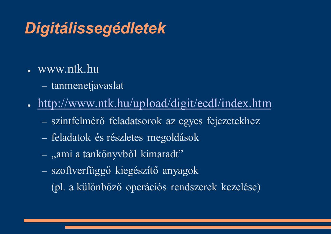 Digitálissegédletek www.ntk.hu