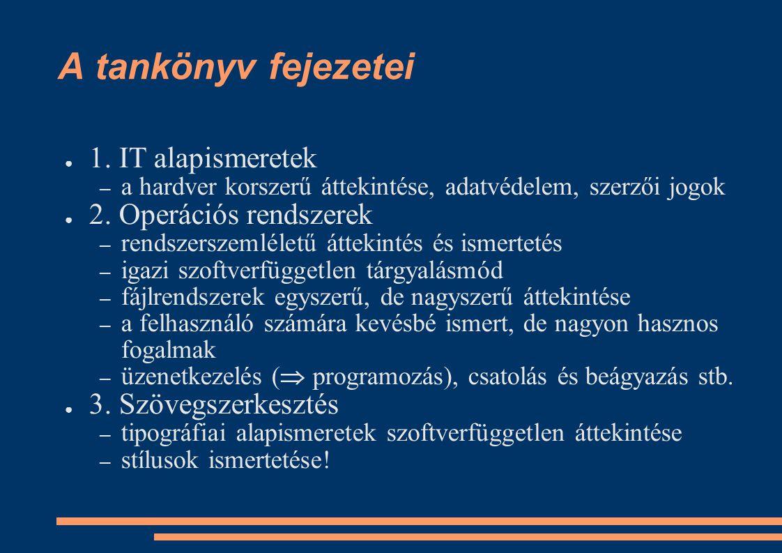 A tankönyv fejezetei 1. IT alapismeretek 2. Operációs rendszerek