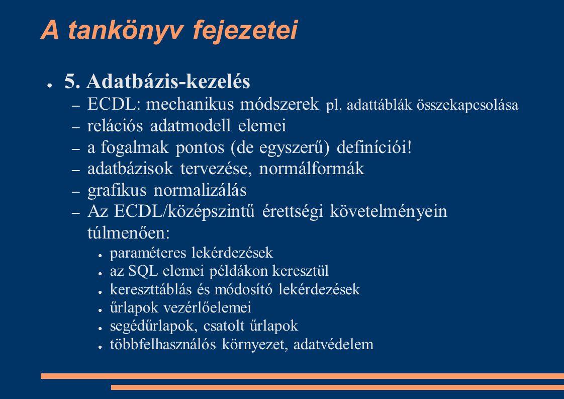 A tankönyv fejezetei 5. Adatbázis-kezelés