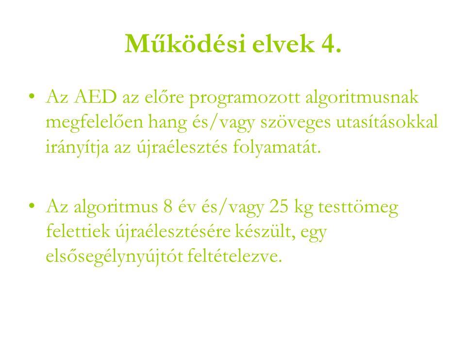 Működési elvek 4. Az AED az előre programozott algoritmusnak megfelelően hang és/vagy szöveges utasításokkal irányítja az újraélesztés folyamatát.