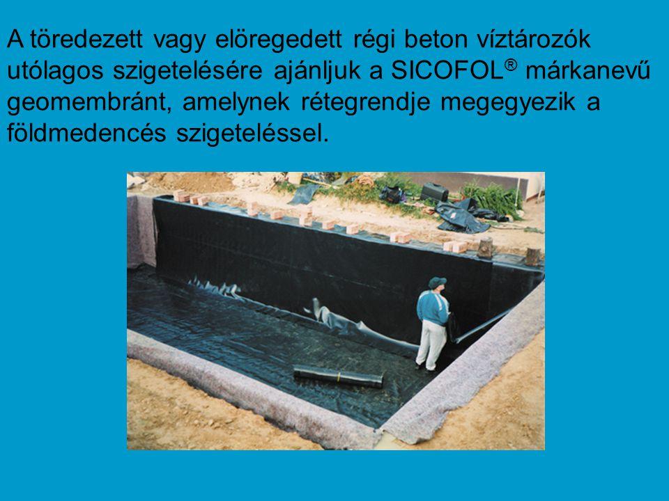 A töredezett vagy elöregedett régi beton víztározók utólagos szigetelésére ajánljuk a SICOFOL® márkanevű geomembránt, amelynek rétegrendje megegyezik a földmedencés szigeteléssel.