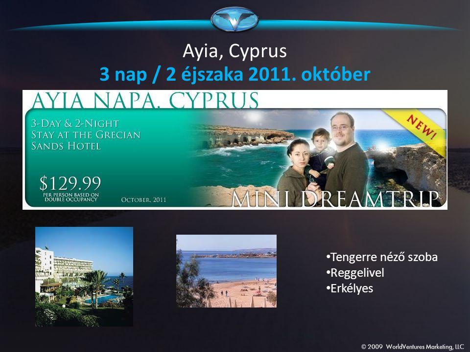 Ayia, Cyprus 3 nap / 2 éjszaka 2011. október Tengerre néző szoba