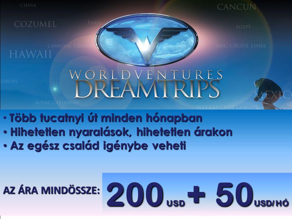 200 USD + 50USD/ HÓ Több tucatnyi út minden hónapban