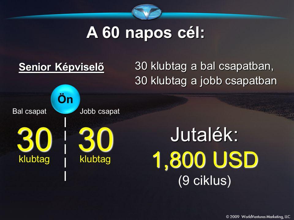 30 30 1,800 USD Jutalék: A 60 napos cél: (9 ciklus)