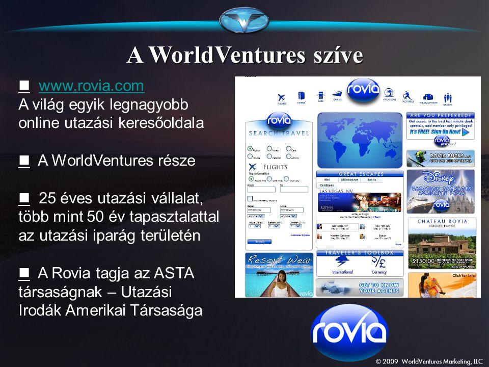 A WorldVentures szíve  www.rovia.com A világ egyik legnagyobb online utazási keresőoldala.  A WorldVentures része.