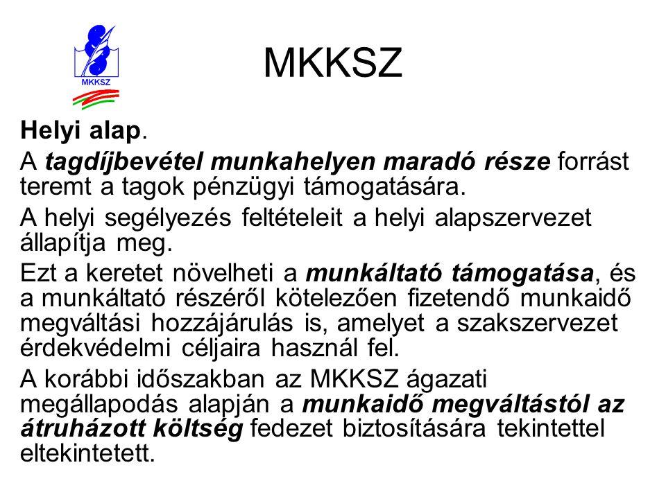 MKKSZ Helyi alap. A tagdíjbevétel munkahelyen maradó része forrást teremt a tagok pénzügyi támogatására.