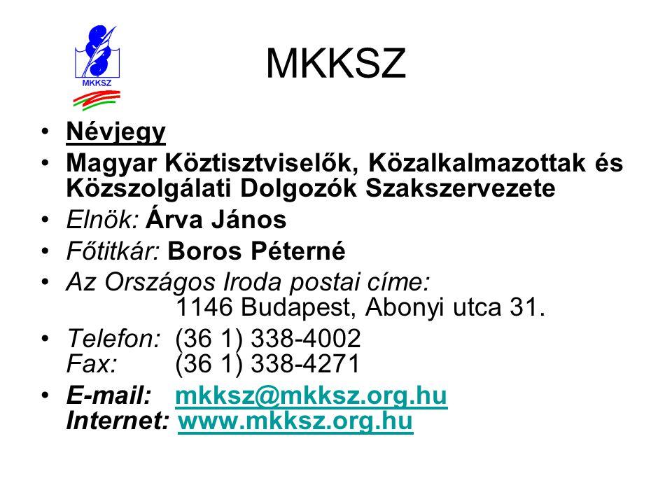 MKKSZ Névjegy. Magyar Köztisztviselők, Közalkalmazottak és Közszolgálati Dolgozók Szakszervezete. Elnök: Árva János.