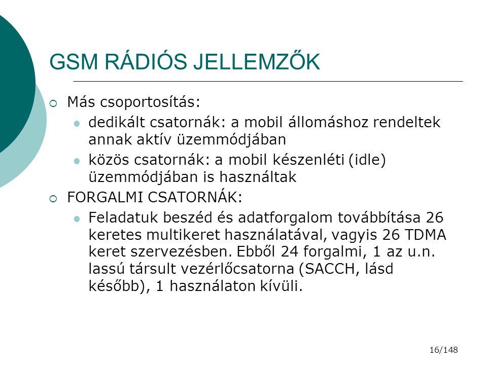 GSM RÁDIÓS JELLEMZŐK Más csoportosítás: