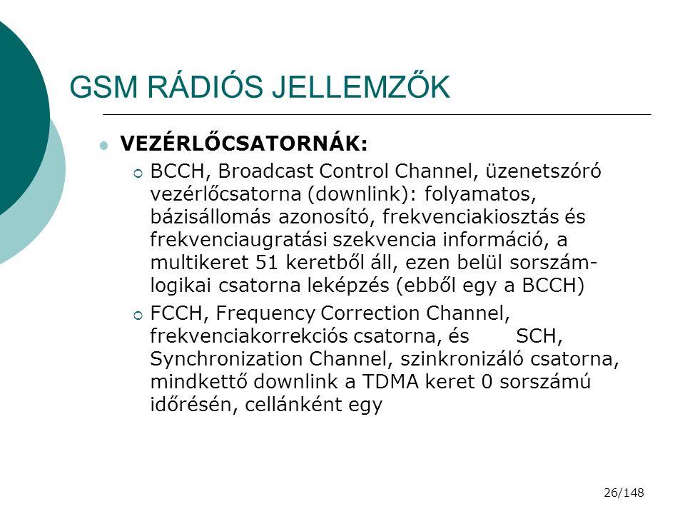 GSM RÁDIÓS JELLEMZŐK VEZÉRLŐCSATORNÁK: