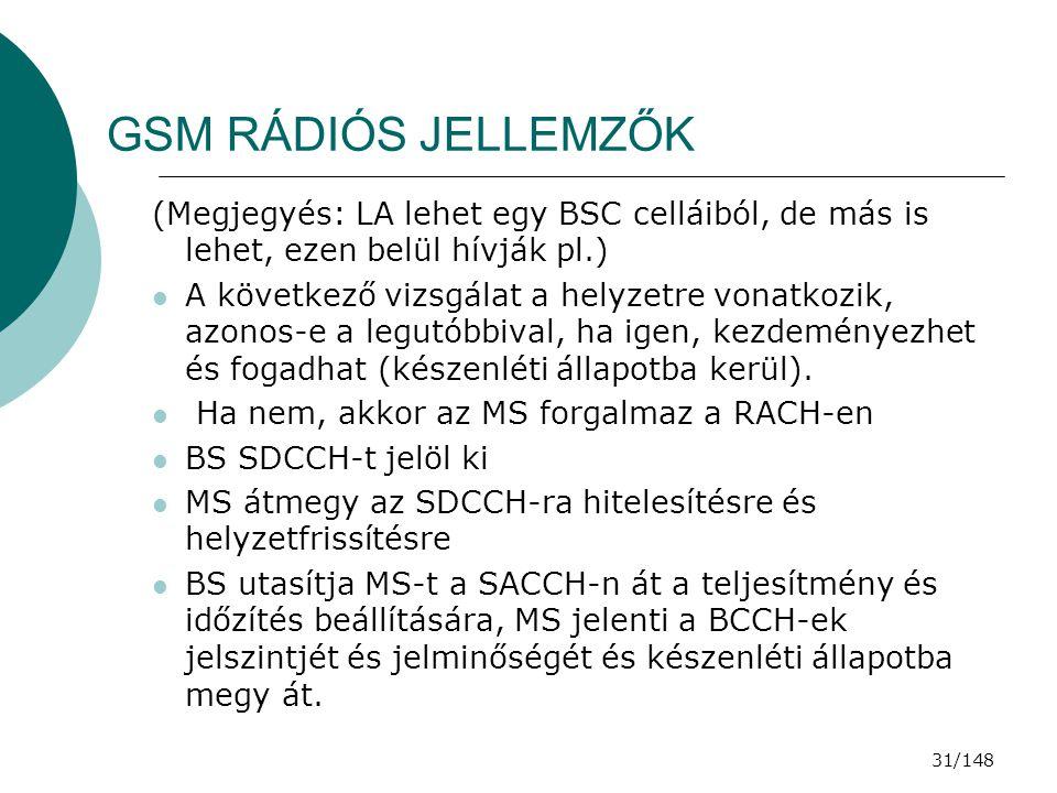 GSM RÁDIÓS JELLEMZŐK (Megjegyés: LA lehet egy BSC celláiból, de más is lehet, ezen belül hívják pl.)