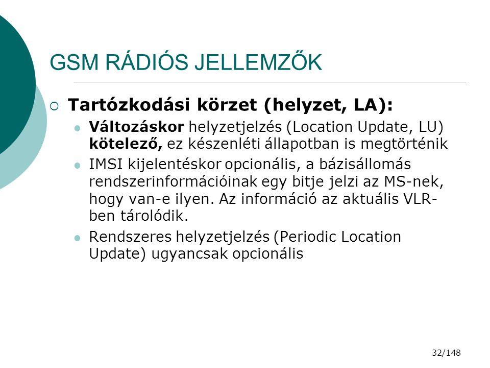 GSM RÁDIÓS JELLEMZŐK Tartózkodási körzet (helyzet, LA):