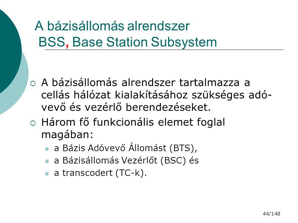 A bázisállomás alrendszer BSS, Base Station Subsystem