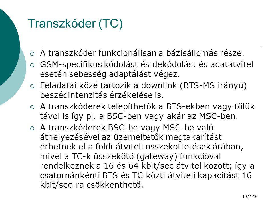 Transzkóder (TC) A transzkóder funkcionálisan a bázisállomás része.