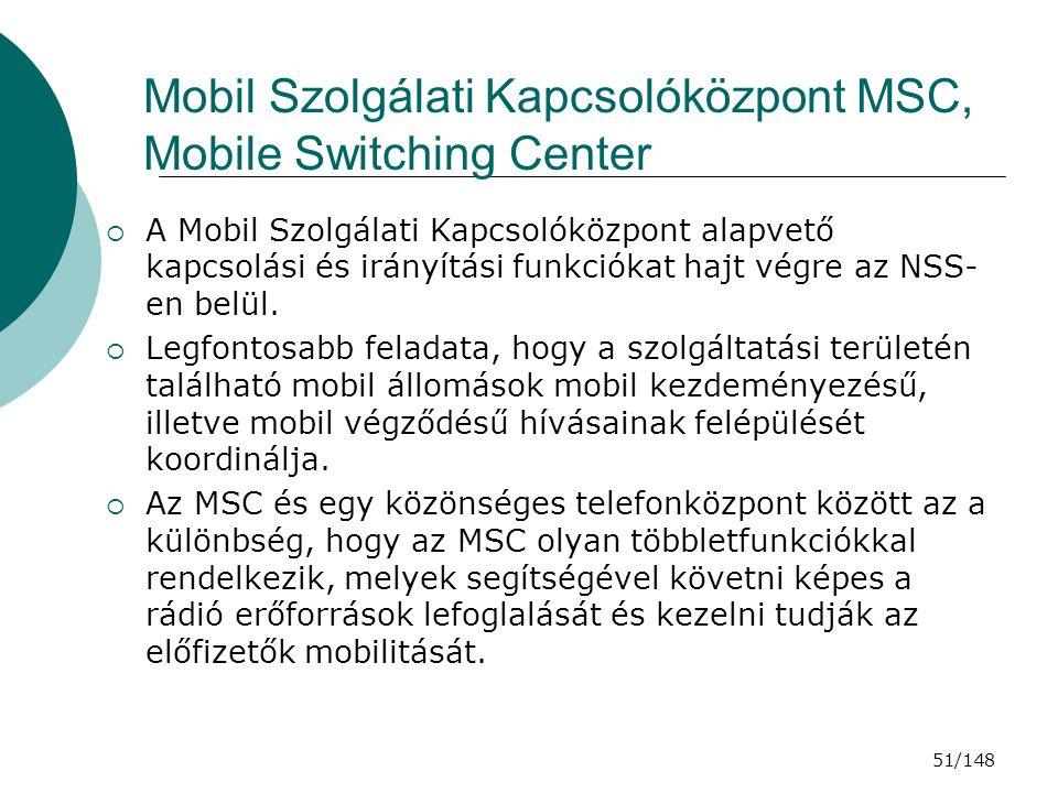 Mobil Szolgálati Kapcsolóközpont MSC, Mobile Switching Center
