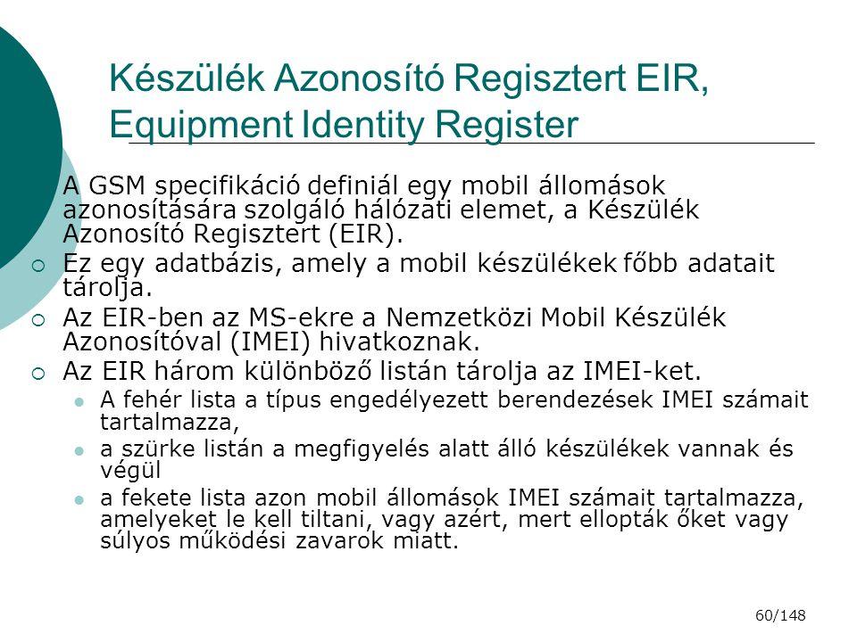 Készülék Azonosító Regisztert EIR, Equipment Identity Register