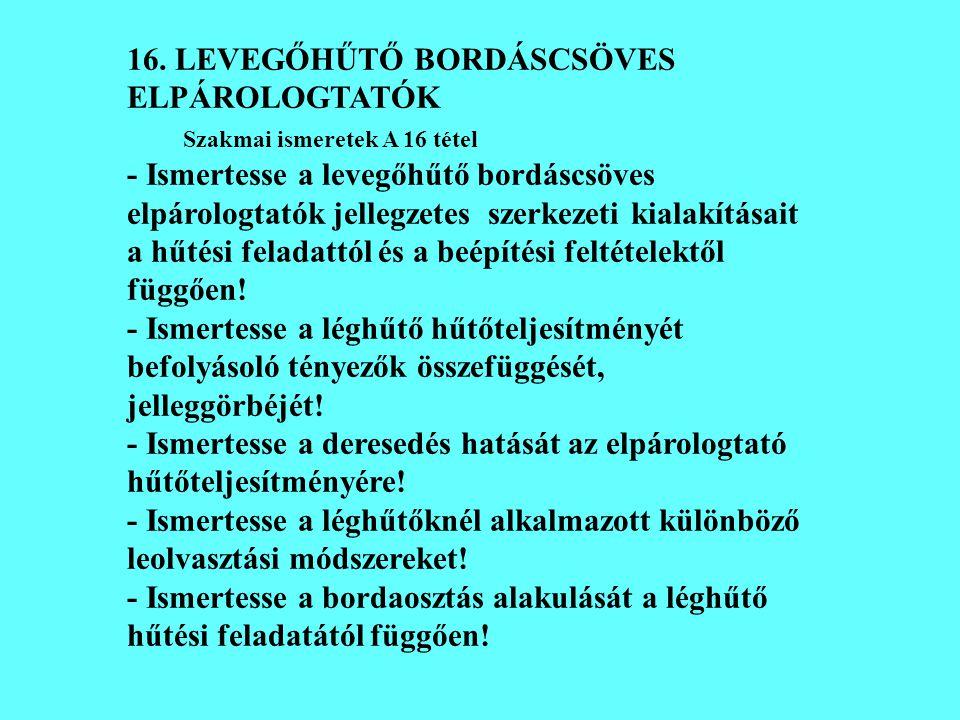 16. LEVEGŐHŰTŐ BORDÁSCSÖVES ELPÁROLOGTATÓK