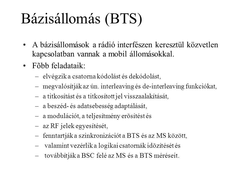 Bázisállomás (BTS) A bázisállomások a rádió interfészen keresztül közvetlen kapcsolatban vannak a mobil állomásokkal.