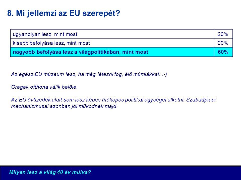 8. Mi jellemzi az EU szerepét