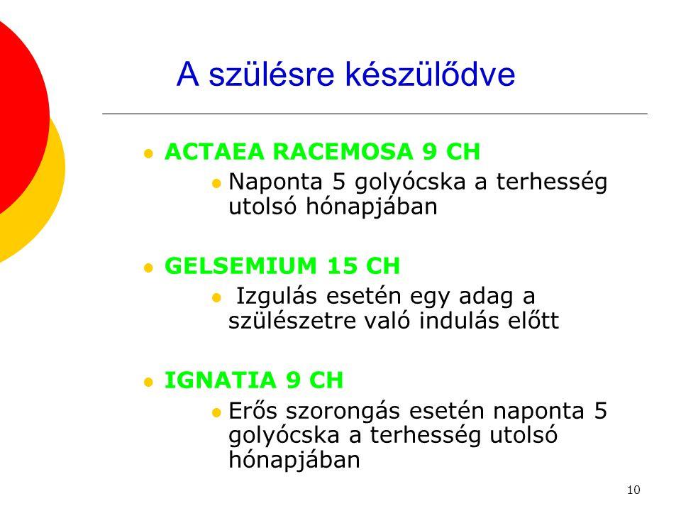 A szülésre készülődve ACTAEA RACEMOSA 9 CH