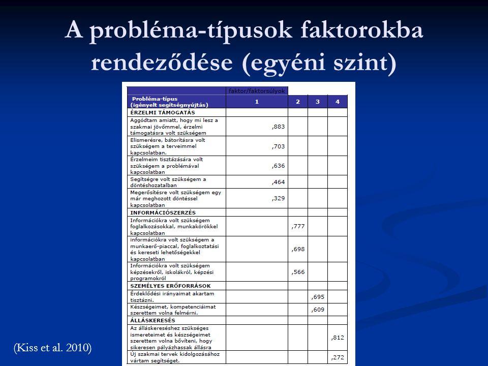 A probléma-típusok faktorokba rendeződése (egyéni szint)