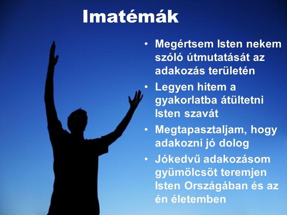 Imatémák Megértsem Isten nekem szóló útmutatását az adakozás területén