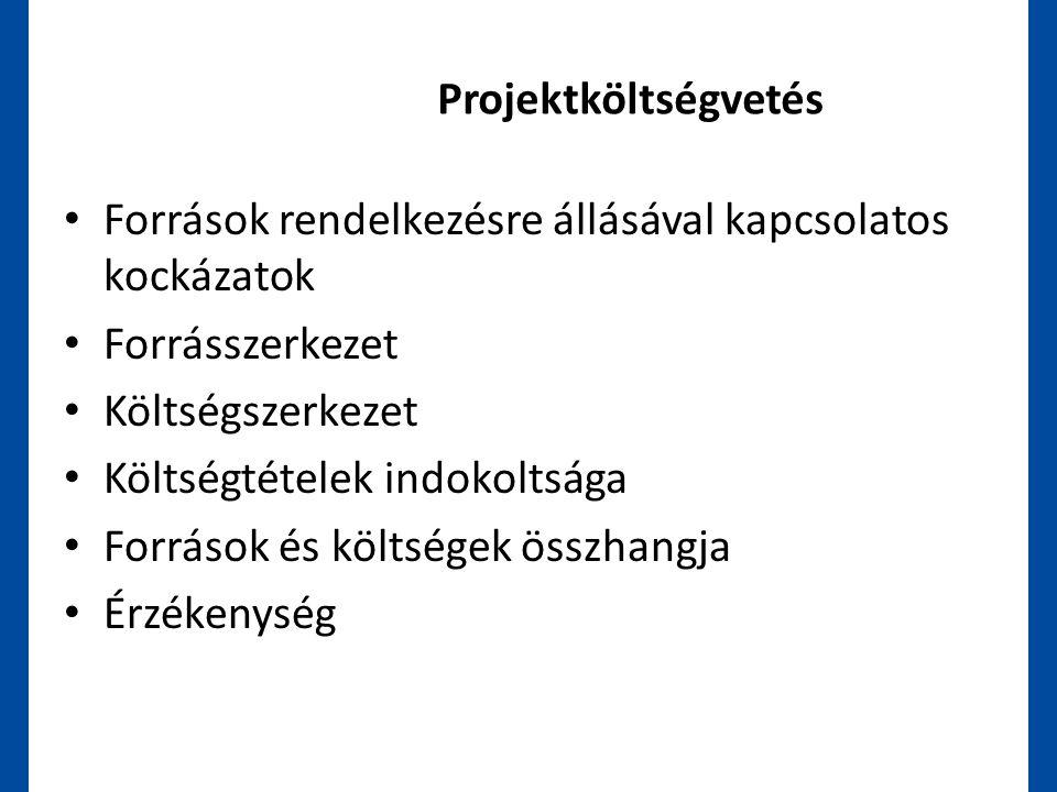 Projektköltségvetés Források rendelkezésre állásával kapcsolatos kockázatok. Forrásszerkezet. Költségszerkezet.