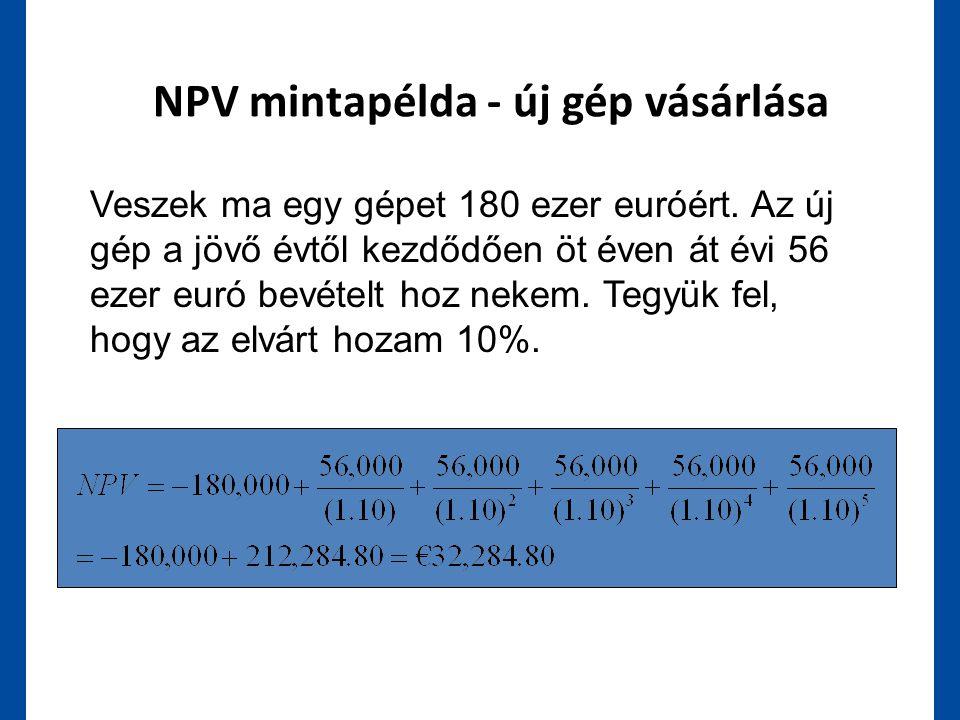 NPV mintapélda - új gép vásárlása